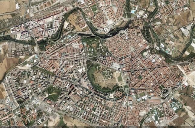Vista de satélite de Pamplona.
