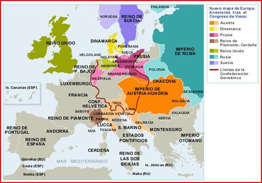 Mapa congreso de Viena