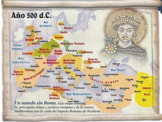 Reparto de Occidente entre los bárbaros a comienzos del reinado de Justiniano.