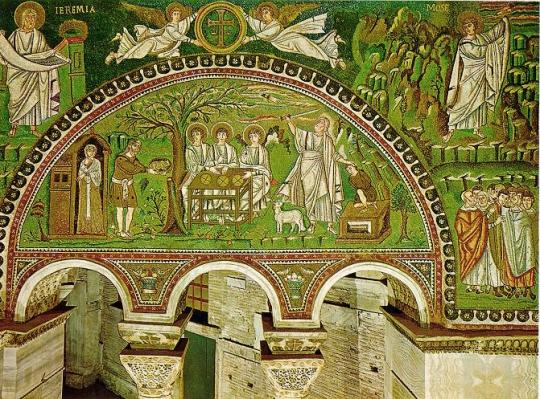 Basílica de San Vital.  Arcos y capiteles.