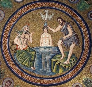 Mosaico de la bóveda del Baptisterio de los Arrianos. (Rávena)