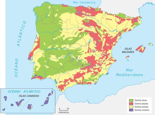 Mapa de los Dominios litológicos