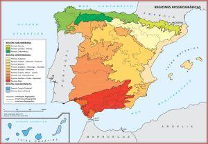 Mapa de las regiones biogeográficas de España