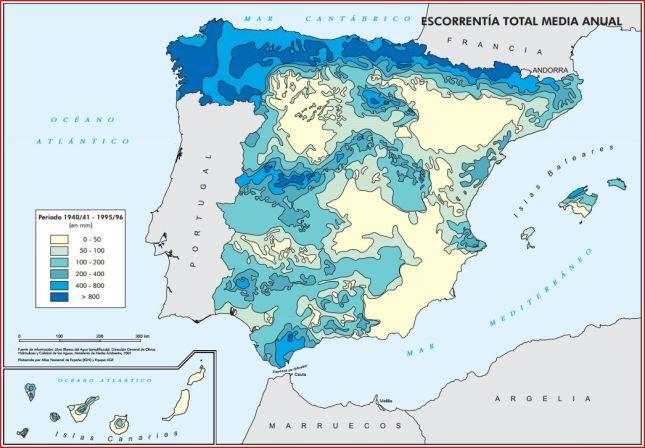 Mapa de la escorrentía en España