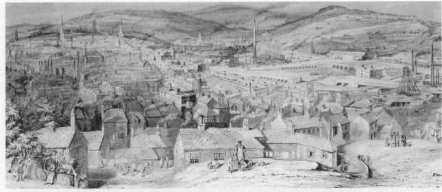 Vista de la ciudad de Sheffield hacia 1851.