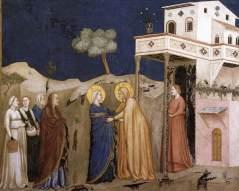 """La Visitación.  Giotto di Bondone.  Pintura italiana del """"Trecento"""" (comienzos del s. XIV)"""