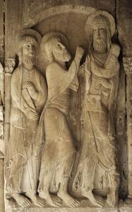 Relieve de los discípulos de Emaús en el Claustro del Monasterio de Santo Domingo de Silos.  Románico, s XII.