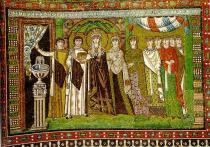 Mosaico de la emperatriz Teodora en la basílica de San Vital (Rávena).  Arte bizantino, s. VI.