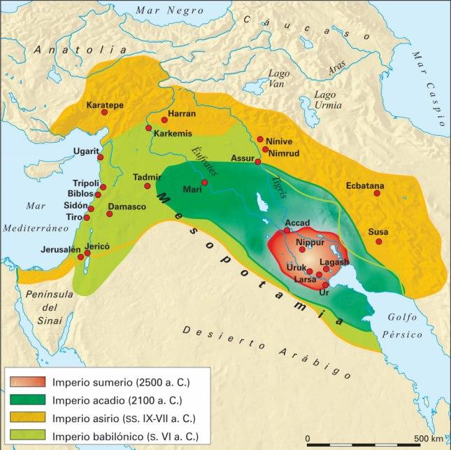 Mapa de algunos de los imperios de la antigua Mesopotamia