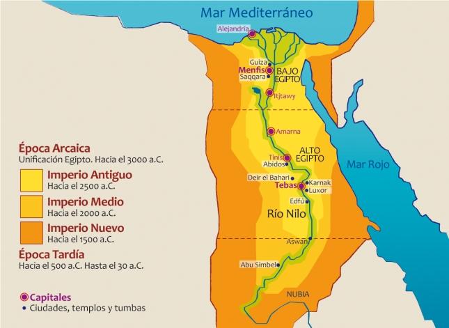 Mapa y cronología del Imperio Egipcio.