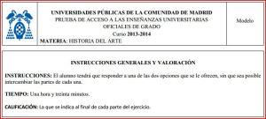 Modelo Examen PAU Historia del Arte