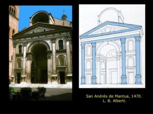 Fachada y esquema sinóptico de San Andrés de Mantua