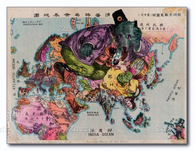 Postal de 1900 que representa mediante distintos personajes, los países del mundo.