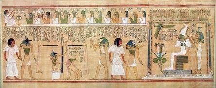 Juicio de Osiris. Pintura y escritura jeroglífica egipcias