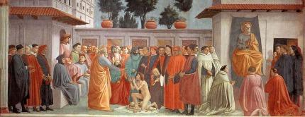 Resurrección del hijo de Teófilo y San Pedro en la Cátedra