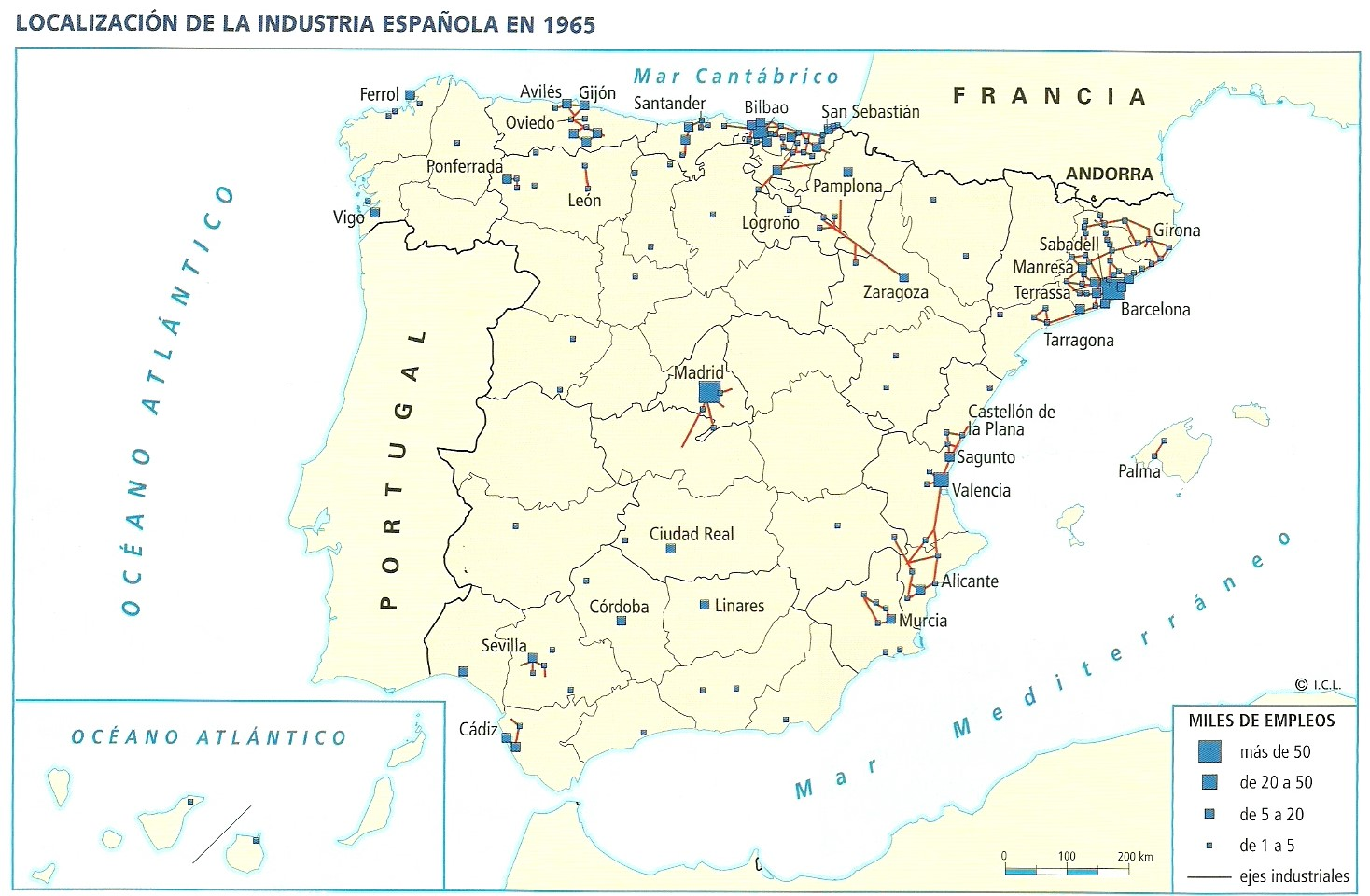 Localización de la industria española en 1965