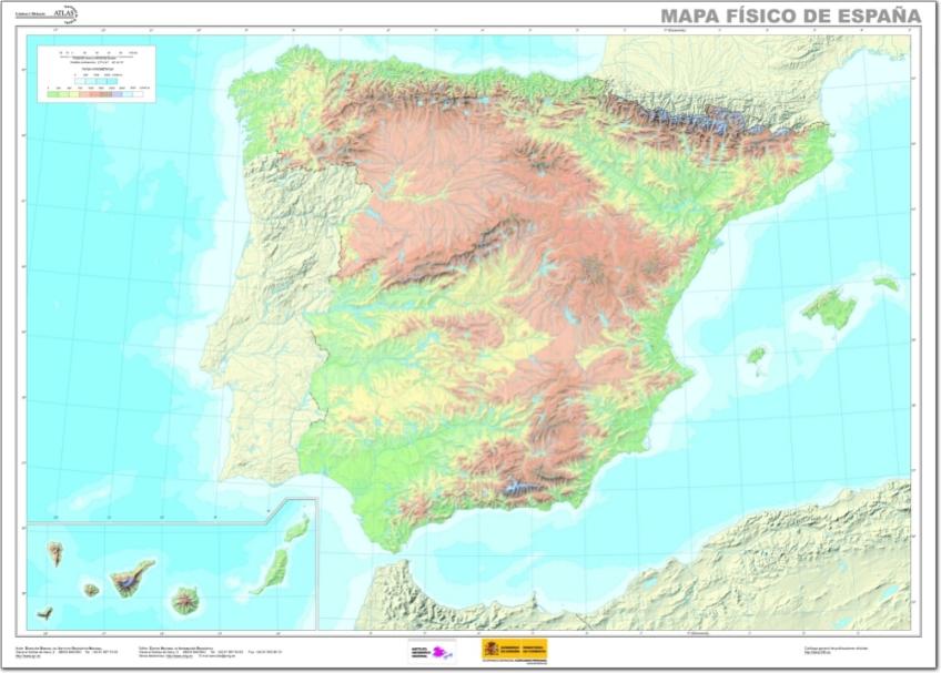 Mapa Fisico De España.Mapa Fisico De Espana Geoblografia