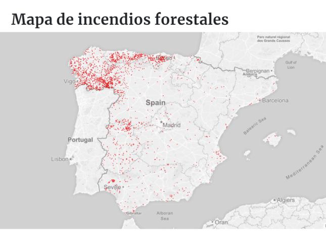 Mapa incendios forestales