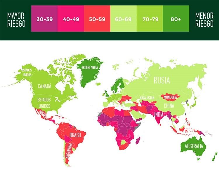 mapa del cambio climático