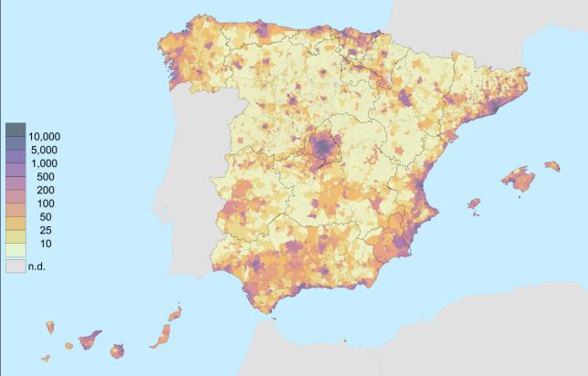 Densidad de población de España